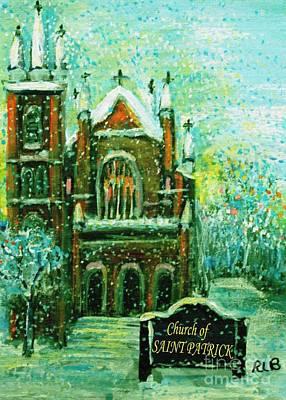 Patrick Painting - Saint Patrick's Church On A Snowy Christmas Morning by Rita Brown