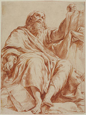 Hand Made Drawing - Saint Paul Giuseppe Maria Crespi, Italian Bolognese by Litz Collection