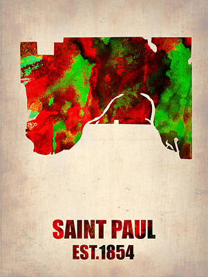 Modern Poster Painting - Saint Paul Watercolor Map by Naxart Studio