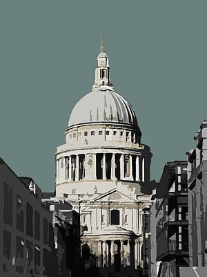 Cities Mixed Media - Saint Pauls - Blue Grey by Big Fat Arts