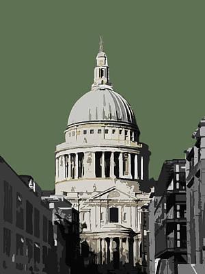 London Mixed Media - Saint Pauls - Olive Green by Big Fat Arts