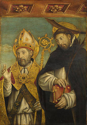 Religious Artist Painting - Saint Peter Martyr And A Bishop Saint by Giovanni Martino Spanzotti