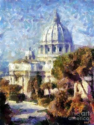 City Scenes Painting - Saint Peter's Basilica by Dragica  Micki Fortuna