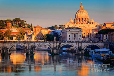 Historic Bridge Photograph - Saint Peters Basilica by Inge Johnsson