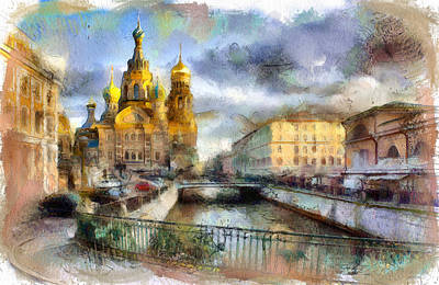 Digital Art - Saint Petersburg Church On Blood by Yury Malkov