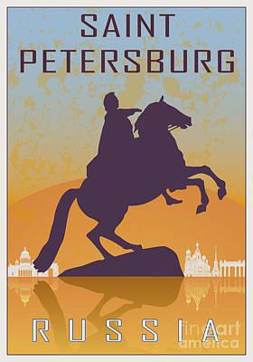 European City Digital Art - Saint Petersburg Vintage Poster by Pablo Romero
