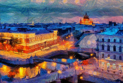 Digital Art - Saint Petersburg White Night by Yury Malkov