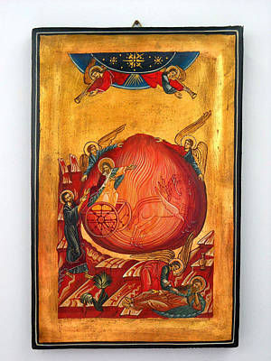 Russian Icon Mixed Media - Saint Prophet Elias Hand Painted Russian Byzantine Icon  by Denise Clemenco