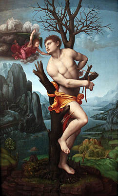 Christian Images Digital Art - Saint Sebastian by Marco d Oggiono