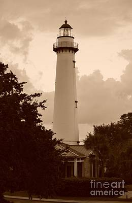 Photograph - Saint Simons Lighthouse In Sepia by Bob Sample
