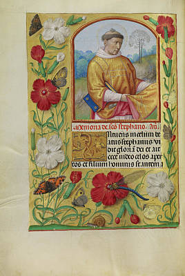 Prayer Drawing - Saint Stephen Workshop Of Master Of The First Prayer Book by Litz Collection