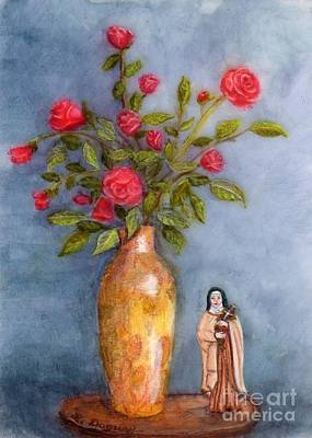 Painting - Saint Therese Of The Little Flower by Lora Duguay