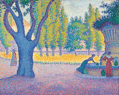 Park Scene Painting - Saint-tropez Fontaine Des Lices by Paul Signac