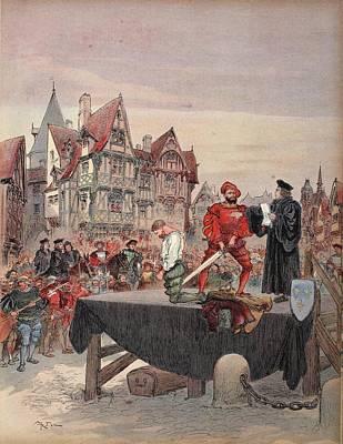 Saint Vallier Pardoned On The Scaffold Art Print