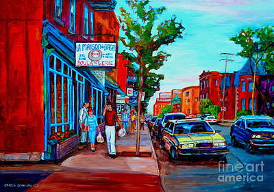 Montreal Storefronts Painting - Saint Viateur Bagel Shop by Carole Spandau