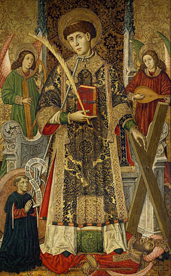 Religious Artist Painting - Saint Vincent  Deacon And Martyr With A Donor by Tomas Giner