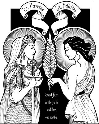 Saints Perpetua And Felicity Print by Lawrence Klimecki