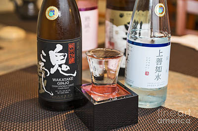Sake Bottle Photograph - Sake - A Variety Of Sake To Taste. by Jamie Pham