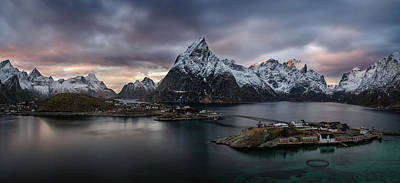 Sunset In Norway Photograph - Sakrisoya Village On Reinefjorden Among by Panoramic Images