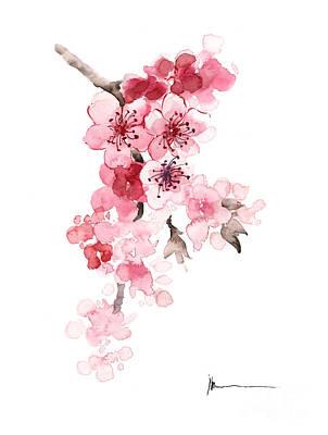 Cherry Blossoms Painting - Sakura Flowers Watercolor Art Print Painting by Joanna Szmerdt