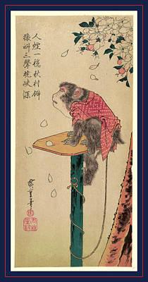 Sakura Drawing - Sakura Ni Tsunagizaru by Utagawa Hiroshige Also And? Hiroshige (1797-1858), Japanese