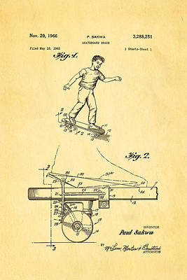Sakwa Skateboard Brake Patent Art 1966 Art Print