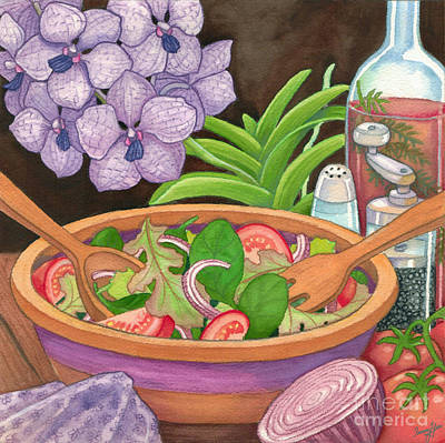 Salad And Orchids Art Print by Tammy Yee
