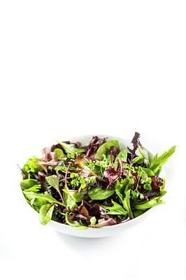 Salad Leaves In White Bowl Art Print