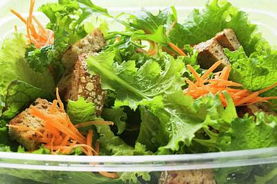 Lettuce Photograph - Salad Leaves With Carrots And Croutons by Foodcollection