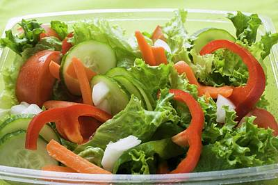 Lettuce Photograph - Salad Leaves With Cucumber, Tomato, Carrots, Peppers To Take Away by Foodcollection