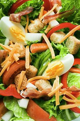 Lettuce Photograph - Salad Leaves With Vegetables, Egg, Cheese, Bacon And Croutons by Foodcollection