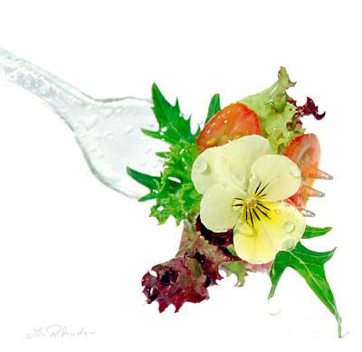 Salad On Fork Art Print by Iris Richardson