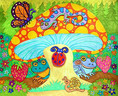 Salamanders Drawing - Salamander And Friends by Nick Gustafson