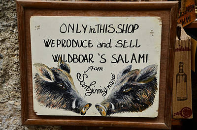 Photograph - Wild Boar's Salami Sign by Dany Lison