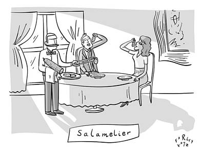 Wine Drawing - Salamlier -- A Waiter Slices Salami For Two by Farley Katz