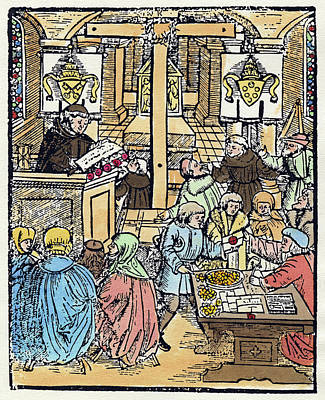 Podium Painting - Sale Of Indulgences In A Church, 1525 by Granger