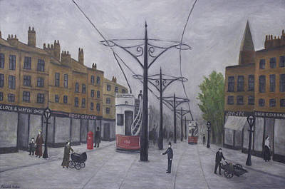 Old Tram Painting - Salford 1910 by Ronald Haber