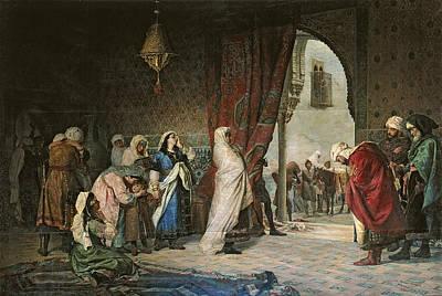 Salida Del Boabdil, At The Alhambra Oil On Canvas Art Print by Manuel Gomez Moreno y Gonzalez