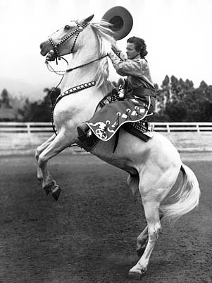 Cowgirl Photograph - Salinas Rodeo Cowgirl by Underwood Archives