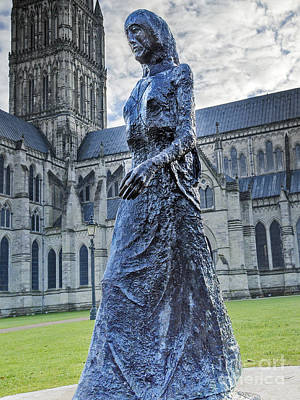 Madonna Digital Art - Salisbury Cathedral And The Walking Madonna 2 by Linsey Williams