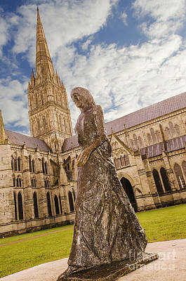 Madonna Digital Art - Salisbury Cathedral And The Walking Madonna by Linsey Williams