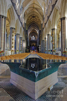 Photograph - Salisbury Cathedral Font by Terri Waters