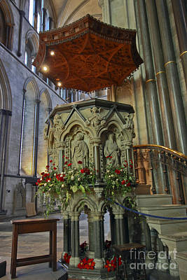 Photograph - Salisbury Cathedral Pulpit by Terri Waters