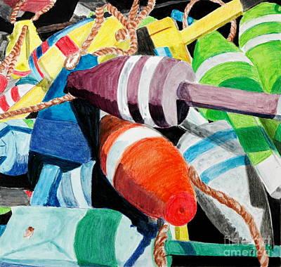 Sally's Buoys Art Print by Glenda Zuckerman