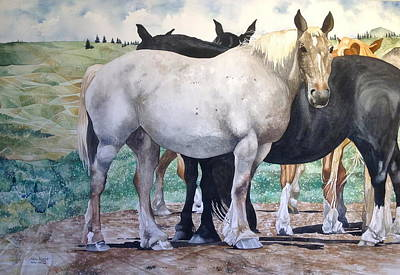 Painting - Sally's Horses by Lance Wurst
