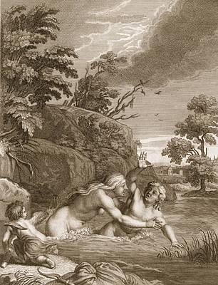 Cupid Drawing - Salmacis And Hemaphroditus United by Bernard Picart