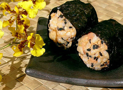 Tasting Photograph - Salmon And Black Sesame Onigiri by James Temple