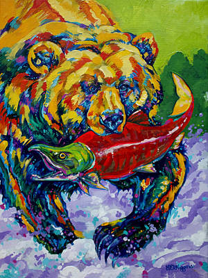 Salmon Painting - Salmon Bear by Derrick Higgins