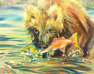Salmon Painting - Salmon Bear-y by Kristi Sandberg