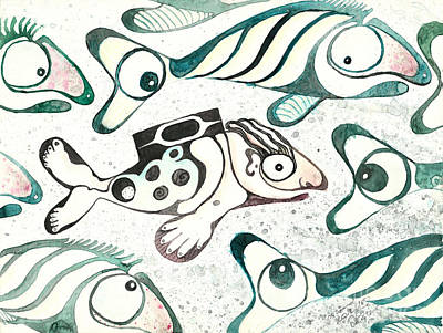 Salmon Boy The Swimmer Art Print by Melinda Dare Benfield